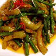 茄子烧豆角aubergine sauté avec haricot vert