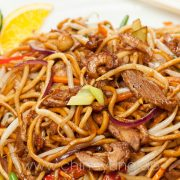 fried noodles with duck
